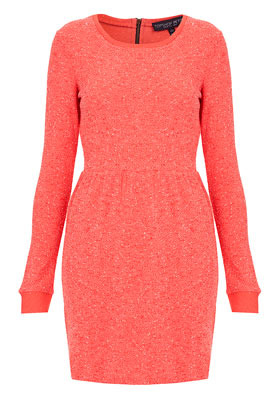 Petite Boucle Sweater Dress - style: jumper dress; length: mid thigh; neckline: round neck; fit: fitted at waist; pattern: plain; hip detail: fitted at hip; predominant colour: coral; occasions: casual; fibres: polyester/polyamide - mix; back detail: embellishment at back; sleeve length: long sleeve; sleeve style: standard; texture group: knits/crochet; pattern type: knitted - fine stitch; season: a/w 2012