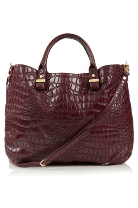 Croc Lady Tote - predominant colour: burgundy; occasions: casual, creative work; type of pattern: light; style: tote; length: handle; size: oversized; material: faux leather; pattern: animal print; finish: patent; season: a/w 2012