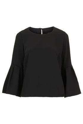 Bell Sleeve Blouse - sleeve style: bell sleeve; pattern: plain; style: blouse; predominant colour: black; occasions: casual, evening, work; length: standard; fibres: polyester/polyamide - 100%; fit: body skimming; neckline: crew; back detail: keyhole/peephole detail at back; sleeve length: 3/4 length; pattern type: fabric; pattern size: standard; texture group: other - light to midweight; season: a/w 2012