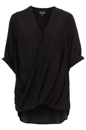 Casual Drape Top - neckline: v-neck; sleeve style: dolman/batwing; pattern: plain; length: below the bottom; style: wrap/faux wrap; waist detail: flattering waist detail; predominant colour: black; occasions: casual, evening, work; fibres: polyester/polyamide - 100%; fit: loose; hip detail: subtle/flattering hip detail; back detail: longer hem at back than at front; sleeve length: short sleeve; texture group: sheer fabrics/chiffon/organza etc.; trends: volume; pattern type: fabric; pattern size: standard; season: a/w 2012