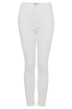 Moto White Jamie Jeans - style: skinny leg; length: standard; pattern: plain; waist: high rise; pocket detail: traditional 5 pocket; predominant colour: white; occasions: casual; fibres: cotton - stretch; texture group: denim; pattern type: fabric; season: a/w 2012