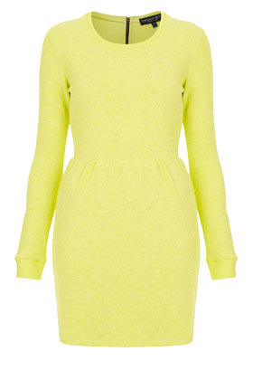 Petite Boucle Sweater Dress - style: jumper dress; length: mid thigh; fit: fitted at waist; pattern: plain; waist detail: fitted waist; predominant colour: primrose yellow; occasions: casual, evening; fibres: polyester/polyamide - mix; neckline: crew; hip detail: subtle/flattering hip detail; sleeve length: long sleeve; sleeve style: standard; trends: fluorescent; texture group: tweed - light/midweight; season: a/w 2012