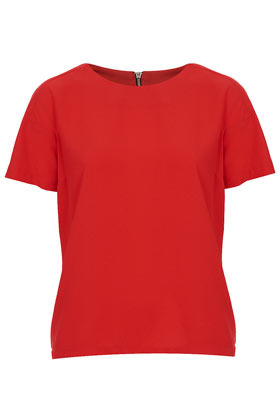 Crepeon Raglan Tee - pattern: plain; style: t-shirt; predominant colour: true red; occasions: casual, work, occasion; length: standard; fibres: polyester/polyamide - 100%; fit: body skimming; neckline: crew; sleeve length: short sleeve; sleeve style: standard; texture group: crepes; pattern type: fabric; pattern size: standard; season: a/w 2012