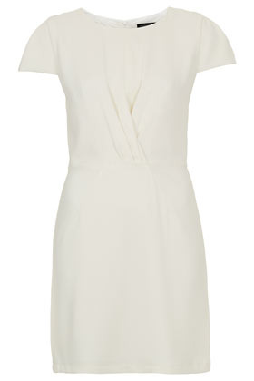 Crepe Twist Shift Dress - style: shift; neckline: v-neck; sleeve style: capped; pattern: plain; bust detail: subtle bust detail; predominant colour: white; occasions: evening; length: just above the knee; fit: body skimming; fibres: polyester/polyamide - 100%; sleeve length: short sleeve; texture group: crepes; pattern type: fabric; season: a/w 2012