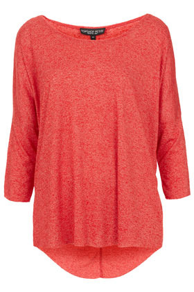 Petite Fleck Oversized Top - neckline: round neck; pattern: plain; predominant colour: bright orange; occasions: casual, work; length: standard; style: top; fibres: polyester/polyamide - mix; fit: loose; back detail: longer hem at back than at front; sleeve length: 3/4 length; sleeve style: standard; pattern type: fabric; pattern size: standard; texture group: jersey - stretchy/drapey; season: a/w 2012