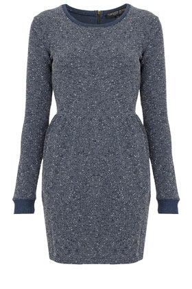 Petite Boucle Sweater Dress - style: jumper dress; length: mid thigh; fit: tailored/fitted; pattern: plain; waist detail: fitted waist; predominant colour: denim; occasions: casual, creative work; fibres: polyester/polyamide - mix; neckline: crew; sleeve length: long sleeve; sleeve style: standard; pattern type: knitted - other; texture group: other - stretchy; season: a/w 2012
