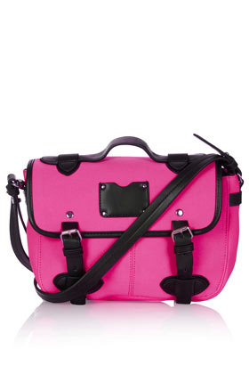Neoprene Satchel - predominant colour: hot pink; occasions: casual, work; type of pattern: standard; style: satchel; length: across body/long; size: standard; material: faux leather; trends: sporty redux, fluorescent; finish: fluorescent; pattern: colourblock; season: a/w 2012