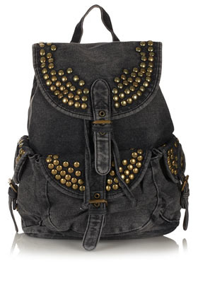 Studded Denim Backpack - predominant colour: charcoal; occasions: casual, work; style: rucksack; length: rucksack; size: standard; material: fabric; embellishment: studs; pattern: plain; trends: sporty redux; finish: plain; season: a/w 2012