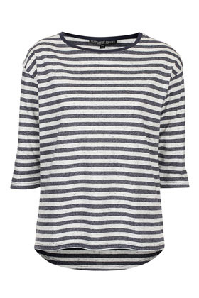 Petite Stripe Fleck Top - pattern: horizontal stripes; length: below the bottom; style: t-shirt; predominant colour: charcoal; occasions: casual, work; fibres: cotton - mix; fit: straight cut; neckline: crew; sleeve length: 3/4 length; sleeve style: standard; trends: striking stripes; pattern type: fabric; pattern size: standard; texture group: jersey - stretchy/drapey; season: a/w 2012