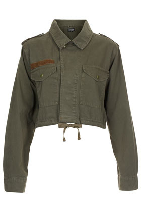 Cropped Army Jacket - pattern: plain; style: cropped; shoulder detail: obvious epaulette; predominant colour: khaki; occasions: casual; fit: straight cut (boxy); fibres: cotton - 100%; collar: shirt collar/peter pan/zip with opening; sleeve length: long sleeve; sleeve style: standard; texture group: canvas/hessian; collar break: high; pattern type: fabric; season: a/w 2012; length: cropped; wardrobe: basic