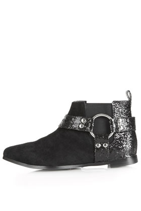 Mirror Harness Boots - predominant colour: black; occasions: casual, creative work; material: leather; heel height: flat; embellishment: glitter; heel: standard; toe: round toe; boot length: ankle boot; style: standard; finish: plain; pattern: plain; season: a/w 2012