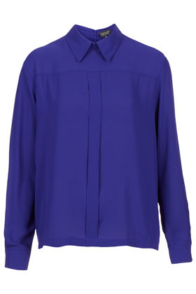 Box Pleat Button Back Top - pattern: plain; style: shirt; predominant colour: royal blue; occasions: casual, evening, work; length: standard; fibres: polyester/polyamide - 100%; fit: straight cut; neckline: no opening/shirt collar/peter pan; sleeve length: long sleeve; sleeve style: standard; texture group: crepes; pattern type: fabric; pattern size: standard; season: a/w 2012