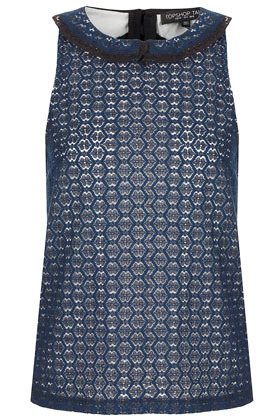 Tall Colllar Lace Shell Top - sleeve style: sleeveless; style: blouse; predominant colour: navy; occasions: casual, evening, work; length: standard; fibres: cotton - mix; fit: body skimming; neckline: no opening/shirt collar/peter pan; bust detail: contrast pattern/fabric/detail at bust; sleeve length: sleeveless; texture group: lace; pattern type: fabric; pattern size: standard; pattern: patterned/print; season: a/w 2012