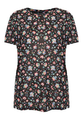Petite Floral Print Tee - neckline: round neck; style: t-shirt; predominant colour: black; occasions: casual, work, holiday; length: standard; fibres: polyester/polyamide - 100%; fit: straight cut; sleeve length: short sleeve; sleeve style: standard; trends: high impact florals; pattern type: fabric; pattern size: standard; pattern: florals; texture group: jersey - stretchy/drapey; season: a/w 2012