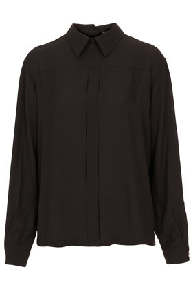 Box Pleat Button Back Top - pattern: plain; style: shirt; bust detail: ruching/gathering/draping/layers/pintuck pleats at bust; predominant colour: black; occasions: casual, evening, work; length: standard; fibres: polyester/polyamide - 100%; fit: straight cut; neckline: no opening/shirt collar/peter pan; back detail: embellishment at back; sleeve length: long sleeve; sleeve style: standard; pattern type: fabric; pattern size: standard; season: a/w 2012