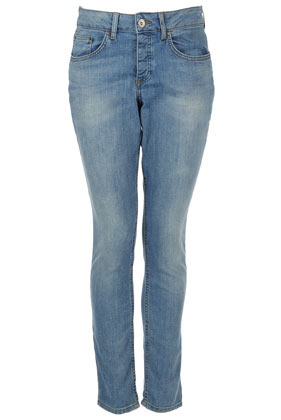 Moto Bleach Slim Boy Fit Jeans - style: boyfriend; length: standard; pattern: plain; pocket detail: traditional 5 pocket; waist: mid/regular rise; predominant colour: denim; occasions: casual; fibres: cotton - stretch; jeans detail: washed/faded; texture group: denim; pattern type: fabric; season: a/w 2012