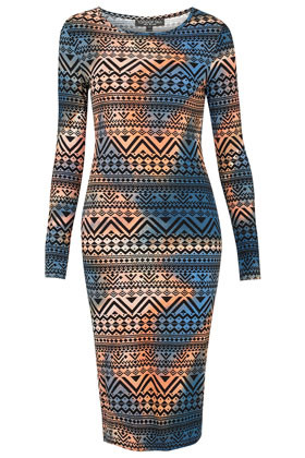 Tall Navajo Midi Bodycon Dress - length: below the knee; neckline: round neck; fit: tight; style: bodycon; waist detail: fitted waist; hip detail: fitted at hip; occasions: casual, evening; fibres: polyester/polyamide - stretch; predominant colour: multicoloured; sleeve length: long sleeve; sleeve style: standard; texture group: jersey - clingy; pattern type: fabric; pattern size: standard; pattern: patterned/print; season: a/w 2012; multicoloured: multicoloured