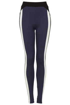 Block Colour Ponte Leggings - length: standard; style: leggings; waist detail: wide waistband/cummerbund; waist: high rise; predominant colour: navy; occasions: casual; fibres: polyester/polyamide - stretch; texture group: jersey - clingy; trends: sporty redux; fit: skinny/tight leg; pattern type: fabric; pattern: colourblock; season: a/w 2012; pattern size: standard (bottom)