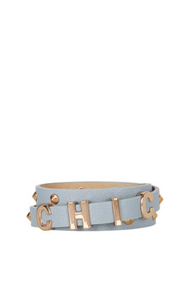 Chic Skinny Letter Belt - predominant colour: pale blue; occasions: casual, evening, work, occasion; type of pattern: standard; style: classic; size: skinny; worn on: waist; material: faux leather; pattern: plain; finish: plain; embellishment: chain/metal; season: a/w 2012