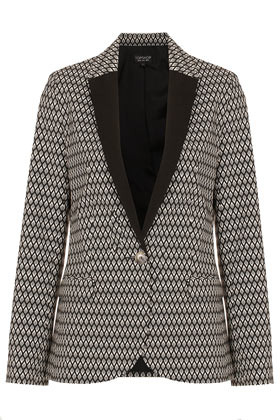 Diamond Jacquard Blazer - style: single breasted blazer; length: below the bottom; collar: standard lapel/rever collar; predominant colour: black; occasions: casual, evening, work, occasion; fit: tailored/fitted; fibres: polyester/polyamide - stretch; waist detail: fitted waist; bust detail: contrast pattern/fabric/detail at bust; sleeve length: long sleeve; sleeve style: standard; texture group: ornate wovens; trends: modern geometrics; collar break: low/open; pattern type: fabric; pattern size: standard; pattern: patterned/print; season: a/w 2012; hip detail: front pockets at hip