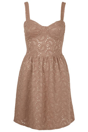 Paisley Lace Corset Tunic - sleeve style: sleeveless; waist detail: fitted waist; neckline: sweetheart; predominant colour: taupe; occasions: casual, evening, occasion; length: just above the knee; fit: fitted at waist & bust; style: fit & flare; fibres: cotton - mix; hip detail: ruching/gathering at hip; sleeve length: sleeveless; texture group: lace; pattern type: fabric; pattern size: light/subtle; pattern: patterned/print; season: a/w 2012
