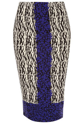 Border Printed Tube Skirt - length: below the knee; fit: tight; waist: mid/regular rise; occasions: casual, evening; fibres: polyester/polyamide - stretch; style: tube; predominant colour: multicoloured; texture group: jersey - clingy; trends: statement prints; pattern type: fabric; pattern: animal print; season: a/w 2012; pattern size: big & busy (bottom); multicoloured: multicoloured