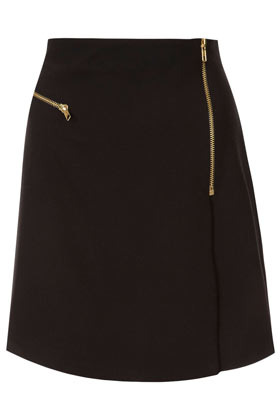 Black Zip Wrap Aline Skirt - length: mid thigh; pattern: plain; fit: body skimming; waist: mid/regular rise; predominant colour: black; occasions: casual, evening, work; style: a-line; fibres: polyester/polyamide - mix; hip detail: added detail/embellishment at hip; pattern type: fabric; season: a/w 2012