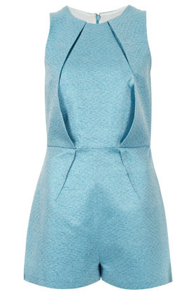 Metallic Origami Playsuit - fit: fitted at waist; pattern: plain; sleeve style: sleeveless; bust detail: subtle bust detail; length: short shorts; predominant colour: pale blue; occasions: casual, evening, occasion, holiday; fibres: cotton - mix; neckline: crew; sleeve length: sleeveless; style: playsuit; pattern type: fabric; texture group: brocade/jacquard; season: a/w 2012; wardrobe: highlight