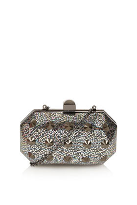 Stingray And Stud Box Bag - predominant colour: silver; occasions: evening, occasion; type of pattern: small; style: clutch; length: hand carry; size: mini; material: plastic/rubber; embellishment: studs; trends: metallics; finish: metallic; pattern: patterned/print; season: a/w 2012