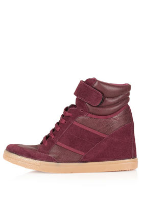 Aerobic2 Fur Wedges - predominant colour: burgundy; occasions: casual; material: leather; heel height: mid; heel: wedge; toe: round toe; boot length: ankle boot; style: high top; finish: plain; pattern: plain; season: a/w 2012