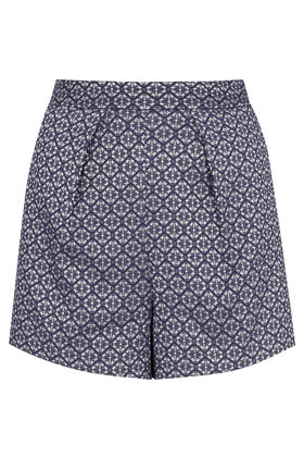 Tile Geo Pleat Short - waist: mid/regular rise; predominant colour: navy; occasions: casual, work, holiday; fibres: polyester/polyamide - mix; hip detail: front pleats at hip level; pattern type: fabric; pattern: patterned/print; texture group: brocade/jacquard; season: a/w 2012; pattern size: standard (bottom); style: shorts; length: short shorts; fit: a-line