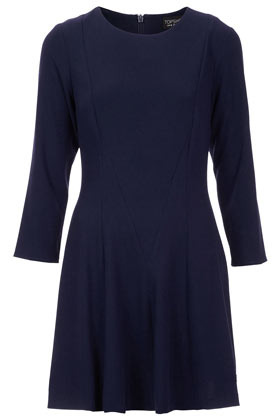 Crepe Fit And Flare Dress - length: mid thigh; pattern: plain; predominant colour: navy; occasions: casual, work; fit: body skimming; style: fit & flare; fibres: polyester/polyamide - stretch; neckline: crew; sleeve length: 3/4 length; sleeve style: standard; texture group: crepes; pattern type: fabric; season: a/w 2012
