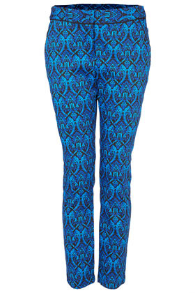 Baroque Cigarette Trousers - style: capri; pocket detail: small back pockets, pockets at the sides; waist: mid/regular rise; predominant colour: royal blue; occasions: casual, evening, work, occasion; length: ankle length; fibres: cotton - stretch; waist detail: feature waist detail; texture group: cotton feel fabrics; trends: modern geometrics; fit: slim leg; pattern type: fabric; pattern: patterned/print; season: a/w 2012; pattern size: standard (bottom)