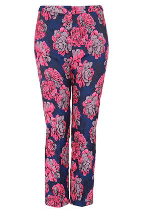 Bright Floral Jacquard Trousers - pocket detail: small back pockets, pockets at the sides; waist: mid/regular rise; predominant colour: hot pink; occasions: casual, evening, work; length: ankle length; fibres: cotton - stretch; waist detail: feature waist detail; texture group: cotton feel fabrics; trends: high impact florals, modern geometrics; fit: straight leg; pattern type: fabric; pattern: florals, patterned/print; style: standard; season: a/w 2012; pattern size: standard (bottom)