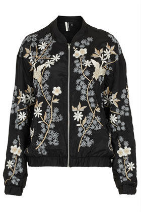 Chinoiserie Flower Bomber Jacket - pattern: plain; collar: mandarin; fit: slim fit; style: bomber; predominant colour: black; occasions: casual, work; length: standard; fibres: polyester/polyamide - 100%; sleeve length: long sleeve; sleeve style: standard; trends: high impact florals; collar break: high; pattern type: fabric; texture group: other - light to midweight; embellishment: embroidered; season: a/w 2012; pattern size: big & busy (top)