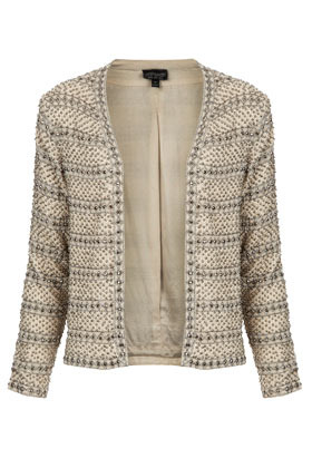 Pearl Embellished Jacket - pattern: plain; style: single breasted blazer; collar: round collar/collarless; predominant colour: ivory/cream; occasions: casual, evening, work, occasion; length: standard; fit: straight cut (boxy); fibres: polyester/polyamide - 100%; sleeve length: long sleeve; sleeve style: standard; collar break: low/open; pattern type: fabric; texture group: woven light midweight; embellishment: beading; season: a/w 2012; wardrobe: highlight; embellishment location: all over