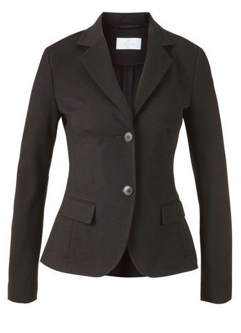 Jersey Blazer - pattern: plain; style: single breasted blazer; collar: standard lapel/rever collar; predominant colour: black; occasions: casual, evening, work; length: standard; fit: tailored/fitted; fibres: viscose/rayon - stretch; sleeve length: long sleeve; sleeve style: standard; texture group: cotton feel fabrics; collar break: medium; pattern type: fabric; season: a/w 2012