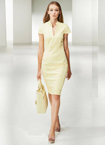 Shift Dress - style: shift; neckline: low v-neck; fit: tailored/fitted; pattern: plain; predominant colour: primrose yellow; occasions: evening; length: on the knee; fibres: polyester/polyamide - stretch; sleeve length: short sleeve; sleeve style: standard; texture group: cotton feel fabrics; pattern type: fabric; season: a/w 2012