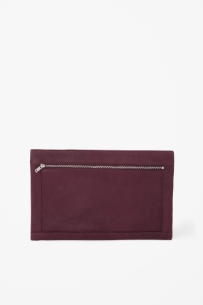Folded Edge Clutch - predominant colour: burgundy; occasions: casual, evening, occasion; style: clutch; length: hand carry; size: standard; material: leather; embellishment: zips; pattern: plain; finish: plain; season: a/w 2012