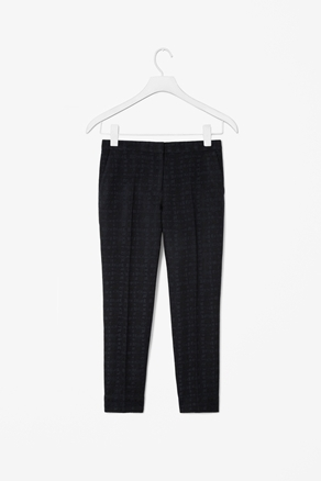 Jacquard Trousers - pattern: plain, checked/gingham; pocket detail: small back pockets, pockets at the sides; waist: mid/regular rise; predominant colour: black; occasions: casual, work; length: ankle length; fibres: polyester/polyamide - mix; fit: slim leg; pattern type: fabric; texture group: other - light to midweight; style: standard; season: a/w 2012; pattern size: standard (bottom)