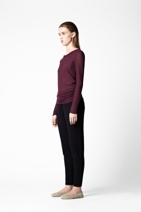 Slim Long Sleeved Top - neckline: round neck; pattern: plain; predominant colour: burgundy; occasions: casual, work; length: standard; style: top; fibres: cotton - 100%; fit: straight cut; sleeve length: long sleeve; sleeve style: standard; pattern type: fabric; texture group: jersey - stretchy/drapey; season: a/w 2012