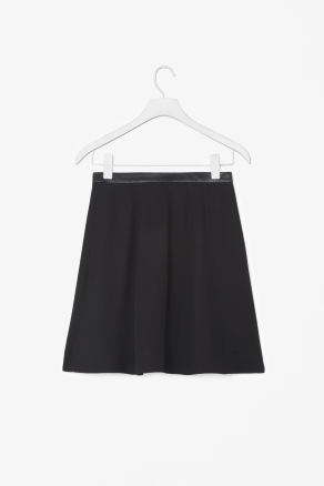 Leather Waist Skirt - length: mid thigh; pattern: plain; fit: loose/voluminous; waist detail: embellishment at waist/feature waistband, feature waist detail; waist: mid/regular rise; predominant colour: black; occasions: casual, evening, work; style: a-line; fibres: polyester/polyamide - 100%; hip detail: subtle/flattering hip detail; texture group: crepes; pattern type: fabric; season: a/w 2012; pattern size: standard (bottom)