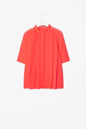 High Neck Pleat Top - neckline: round neck; sleeve style: raglan; pattern: plain; style: blouse; shoulder detail: contrast pattern/fabric at shoulder; bust detail: ruching/gathering/draping/layers/pintuck pleats at bust, tiers/frills/bulky drapes/pleats; predominant colour: bright orange; occasions: casual, evening, work; length: standard; fibres: polyester/polyamide - 100%; fit: loose; hip detail: structured pleats at hip; sleeve length: half sleeve; texture group: sheer fabrics/chiffon/organza etc.; trends: volume; pattern type: fabric; season: a/w 2012