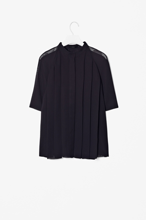High Neck Pleat Top - sleeve style: raglan; pattern: plain; style: blouse; predominant colour: black; occasions: casual, evening, work; length: standard; neckline: collarstand; fibres: polyester/polyamide - 100%; fit: loose; hip detail: adds bulk at the hips; sleeve length: half sleeve; texture group: sheer fabrics/chiffon/organza etc.; pattern type: fabric; season: a/w 2012; wardrobe: highlight