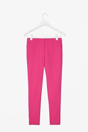 Slim Straight Trousers - pattern: plain; waist: mid/regular rise; predominant colour: hot pink; occasions: casual, evening, work; length: calf length; fibres: viscose/rayon - stretch; texture group: crepes; fit: slim leg; pattern type: fabric; style: standard; season: a/w 2012; pattern size: standard (bottom)