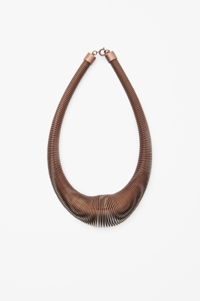 Coiled Bronze Necklace - predominant colour: bronze; occasions: casual, evening, occasion; length: mid; size: large/oversized; material: chain/metal; finish: metallic; style: bib/statement; season: a/w 2012