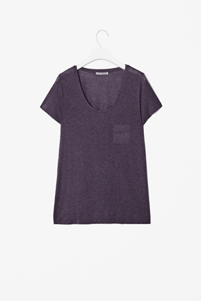 T Shirt With Pocket - sleeve style: capped; pattern: plain; style: t-shirt; bust detail: pocket detail at bust; predominant colour: purple; occasions: casual, work; length: standard; neckline: scoop; fibres: polyester/polyamide - 100%; fit: loose; sleeve length: short sleeve; pattern type: fabric; pattern size: standard; texture group: jersey - stretchy/drapey; season: a/w 2012