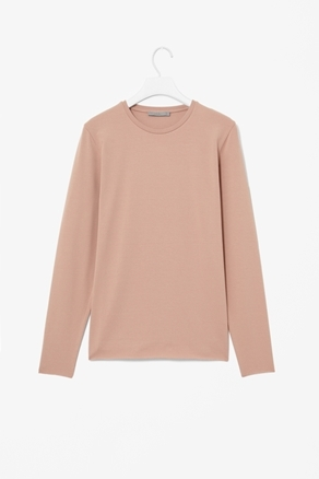 Raw Edge T Shirt - neckline: round neck; pattern: plain; style: t-shirt; predominant colour: nude; occasions: casual, work; length: standard; fibres: polyester/polyamide - stretch; fit: straight cut; sleeve length: long sleeve; sleeve style: standard; pattern type: fabric; pattern size: standard; texture group: jersey - stretchy/drapey; season: a/w 2012