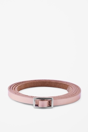 Skinny Leather Belt - predominant colour: blush; occasions: casual, evening, work; type of pattern: standard; style: classic; size: skinny; worn on: waist; material: leather; pattern: plain; finish: plain; embellishment: buckles; season: a/w 2012