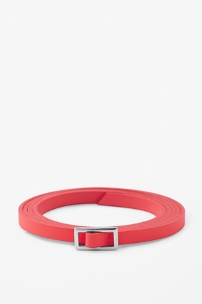 Skinny Leather Belt - predominant colour: true red; occasions: casual, evening, work; type of pattern: standard; style: classic; size: skinny; worn on: waist; material: leather; pattern: plain; trends: fluorescent; finish: fluorescent; embellishment: buckles; season: a/w 2012